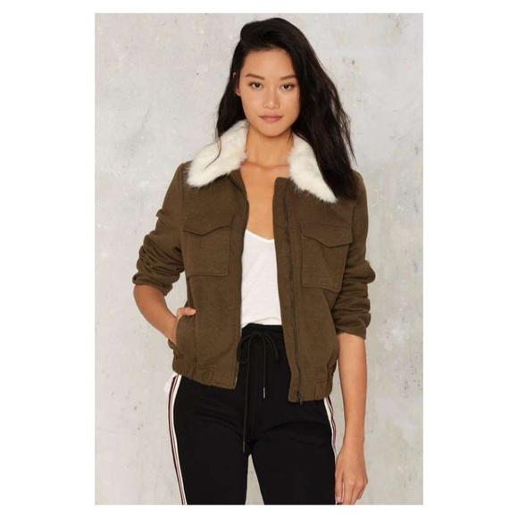 Current Air Jackets & Blazers - OLIVE MILITARY INSPIRED FAUX FUR COAT